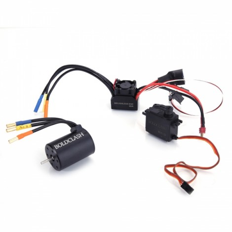 BoldClash BL 3650 3900kv 4 Poles Waterproof Sensorless Brushless Motor + 60A ESC + 6kg Servo for 1/10 RC Car