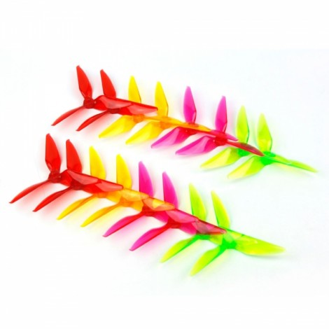8 Pair PC 5051 5x5.1x3 3 Blade Racing Propeller 5.0mm Mounting Hole for FPV Racer Rainbow