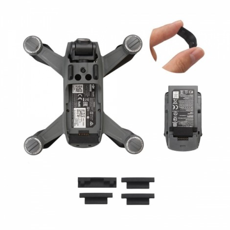 Silicone Battery Anti-Dust Cover Stable Cap Plugs for DJI Spark - Black