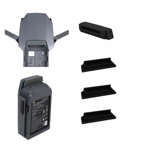 Silicone Battery and Charging Port Protectors for DJI Mavic Pro Drone - Black