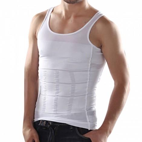 Men's Belly Fatty Slimming Body Shaper Vest Shirt Corset Underwear White S