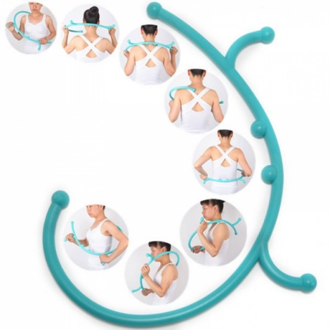 Thera Cane Back Hook Massager Neck Self Body Muscle Pain Relief Pressure Stick Sky Blue