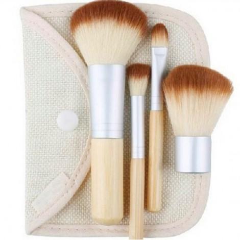 4pcs Bamboo Handle Makeup Brush Powder Blush Brushes Cosmetics Set