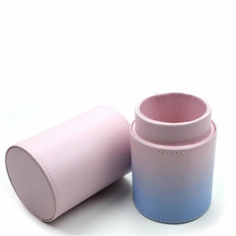 Travel Makeup Brush Cylinder Organizer PU Leather Holder Case Size M Without Buckle Blue & Pink