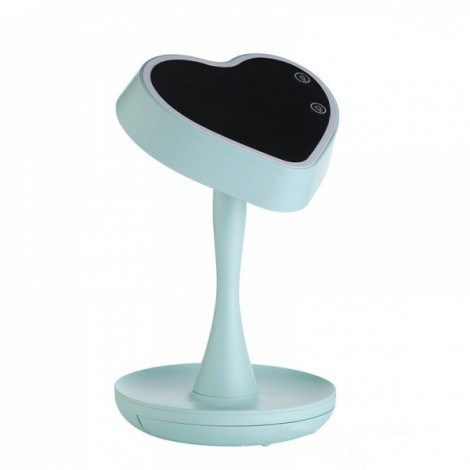 Table Lamp with Night Light Vanity Mirror with Light Storage LED Lamp for Make Up Portable Design Mint Green