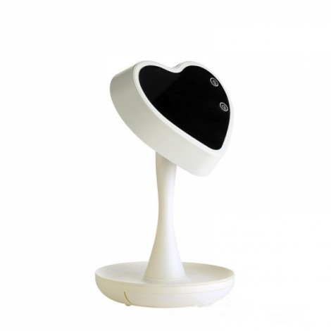 Table Lamp with Night Light Vanity Mirror with Light Storage LED Lamp for Make Up Portable Design Ivory White