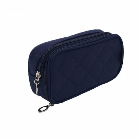 Portable 2 Layers Travel Storage Bag Colorful Cosmetic Makeup Organizer Toiletry Storage Bag Navy Blue