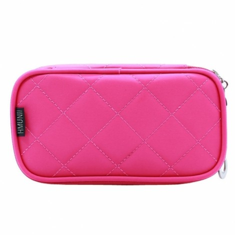 Portable 2 Layers Travel Storage Bag Colorful Cosmetic Makeup Organizer Toiletry Storage Bag Rose Red