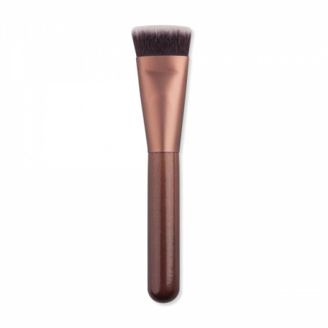 Portable Flat Head Nylon Bristle Foundation Makeup Brush Coffee