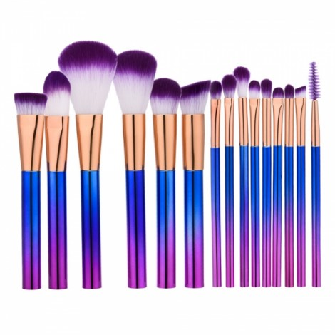 15pcs Cylindrical Colorful Handle Golden Tube Makeup Brushes Purple