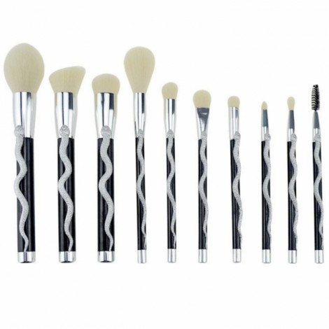 10 Pcs Snake Professional Cosmetic Makeup Brush - Silver