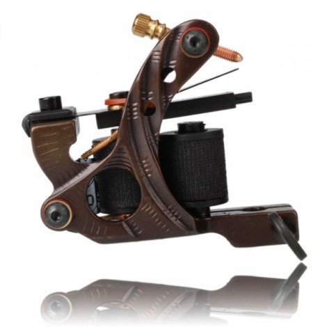 10 Wrap Coils Iron Shader Tattoo Machine with O-ring Grommet Nipple Rubber Band