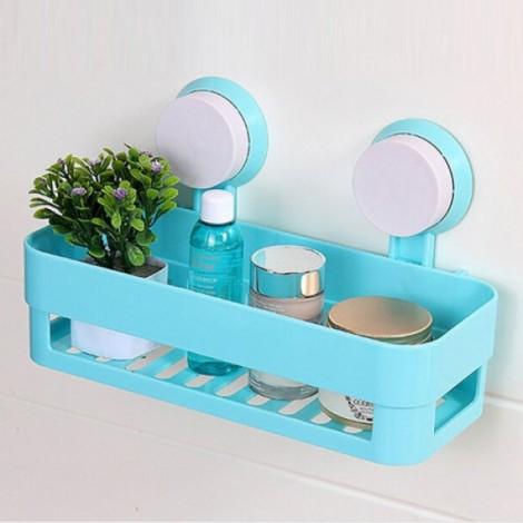Plastic Bathroom Shelf Kitchen Storage Box Organizer Basket with Wall Mounted Suction Cup Blue