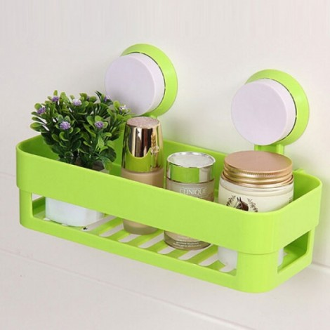 Plastic Bathroom Shelf Kitchen Storage Box Organizer Basket with Wall Mounted Suction Cup Green