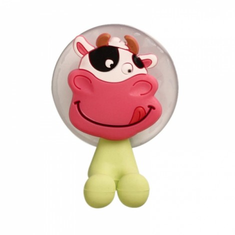 Creative Cute Cartoon Animal Cow Style Powerful Sucker Toothbrush Holder