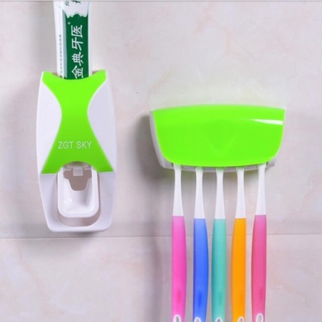 Bathroom Automatic Toothpaste Dispenser Squeezer Toothbrush Holder Set Green