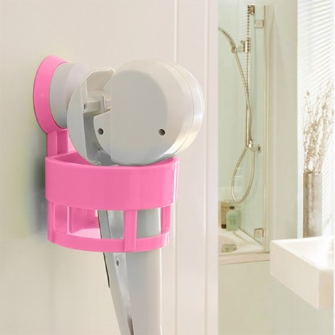 Bathroom Hair Dryer Holder Rack with Vacuum Suction Cup Rose Red