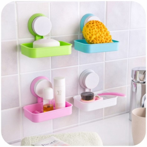 Multifunction Strong Sucker Hanging Soap Box Drain Soap Tray Bathroom Storage Rack Red