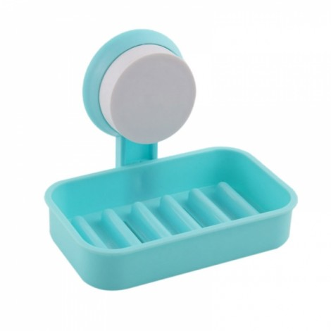 Multifunction Strong Sucker Hanging Soap Box Drain Soap Tray Bathroom Storage Rack Blue