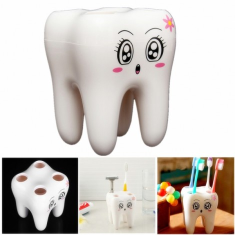 Cute Smily Face Tooth Shaped 4-Hole Toothbrush Holder Rack Toothbrush Bracket White