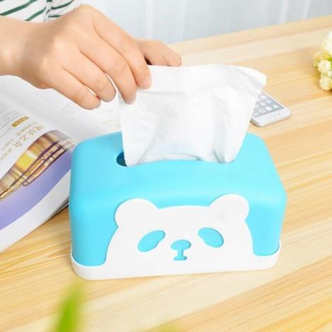 Square Colorful Cartoon Panda Tissue Holders Decorative Plastic Tissue Box Blue