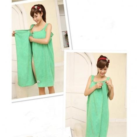 Women Sexy Bath Towel Wearable Beach Towel Soft Beach Wrap Skirt Super Absorbent Bath Gown Green