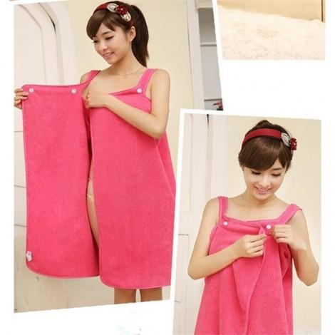 Women Sexy Bath Towel Wearable Beach Towel Soft Beach Wrap Skirt Super Absorbent Bath Gown Rose Red