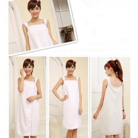Women Sexy Bath Towel Wearable Beach Towel Soft Beach Wrap Skirt Super Absorbent Bath Gown White