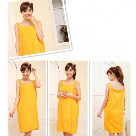 Women Sexy Bath Towel Wearable Beach Towel Soft Beach Wrap Skirt Super Absorbent Bath Gown Orange Yellow
