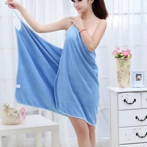 Sexy Women V-Neck Bath Towel Soft Wearable Towel Comfortable Beach Wear Bath Gown Blue