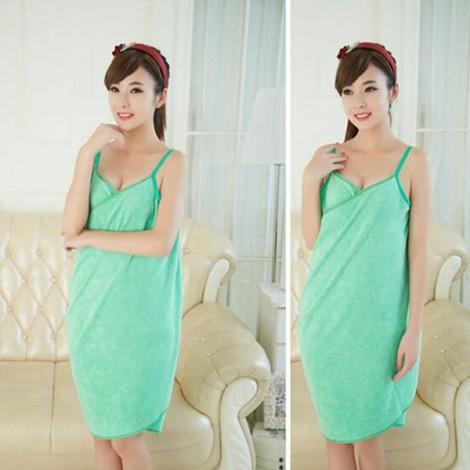 Sexy Women V-Neck Bath Towel Soft Wearable Towel Comfortable Beach Wear Bath Gown Green