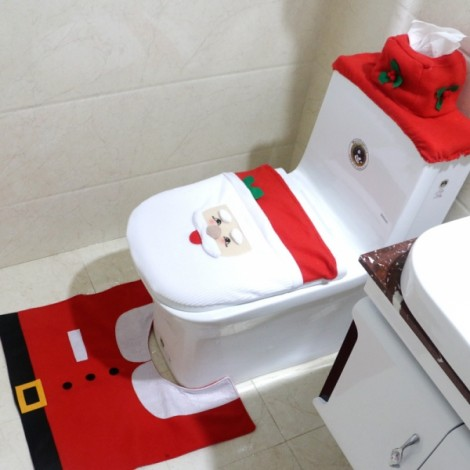 3pcs/set Santa Claus Toilet Seat Cover and Rug Bathroom Set Christmas Decorations Multi-color