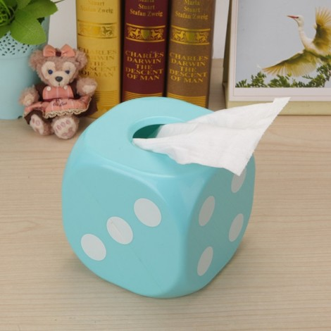 Individual Dice Style Luminous ABS Tissue Box Blue