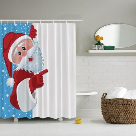 3D Santa Claus Waterproof Shower Curtain Bathroom Christmas Decor with 10pcs Hooks 150x180cm