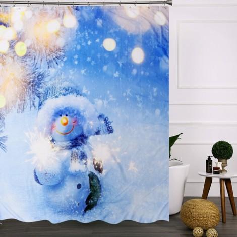 3D Snowman Waterproof Shower Curtain Bathroom Christmas Decor with 12pcs Hooks 150x180cm