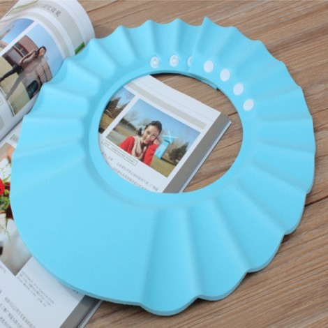 Child Baby Adjustable Soft EVA Shampoo Shower Cap Bathing Protection Hat Waterproof Shield Blue