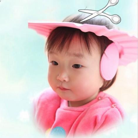 Child Baby Adjustable Soft EVA Shampoo Shower Cap Bathing Protection Hat Waterproof Shield Pink