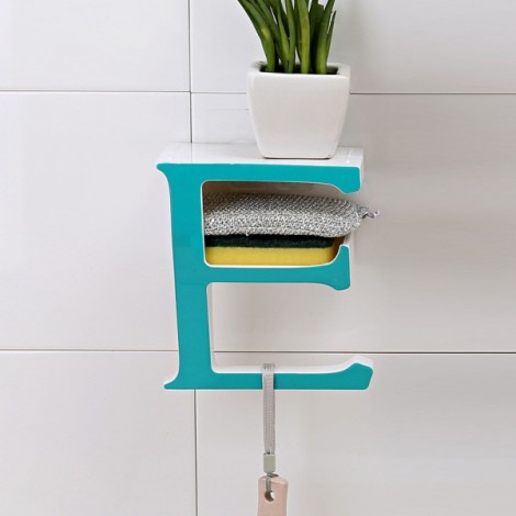 Creative Letter E Bathroom Storage Rack Kitchen Sponge Holder Shelf Blue