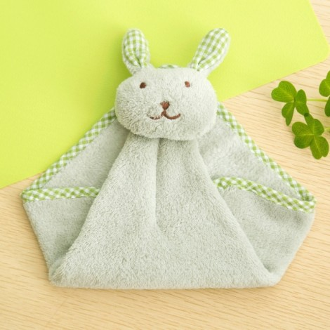 Cute Rabbit Small Towel Hanging Kitchen Bathroom Towel Coral Fleece Home Textile Green