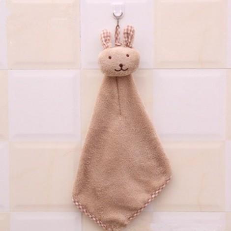 Cute Rabbit Small Towel Hanging Kitchen Bathroom Towel Coral Fleece Home Textile Light Coffee