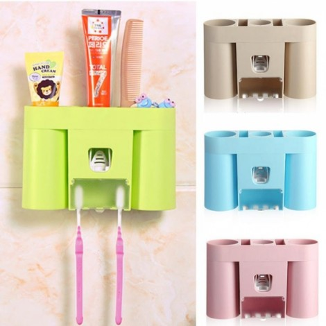 Automatic Toothpaste Dispenser Squeezer Toothbrush Holder Bathroom Storage Rack Green