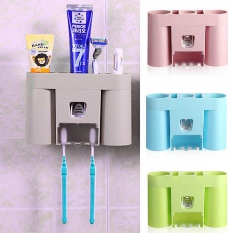 Automatic Toothpaste Dispenser Squeezer Toothbrush Holder Bathroom Storage Rack Gray