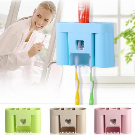 Automatic Toothpaste Dispenser Squeezer Toothbrush Holder Bathroom Storage Rack Blue