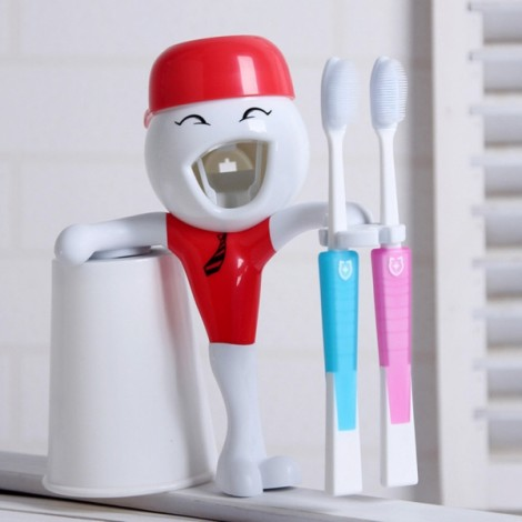Children Cartoon Funny Automatic Toothpaste Squeezer with Toothbrush Holder Red