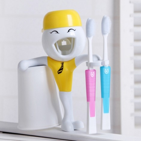 Children Cartoon Funny Automatic Toothpaste Squeezer with Toothbrush Holder Yellow