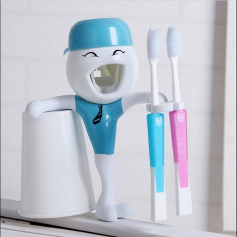 Children Cartoon Funny Automatic Toothpaste Squeezer with Toothbrush Holder Blue