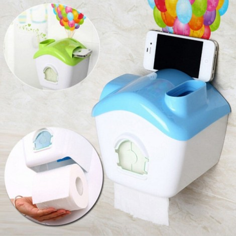 Creative Toilet Roll Paper Holder Paper Box with Mobile Phone Rack Blue