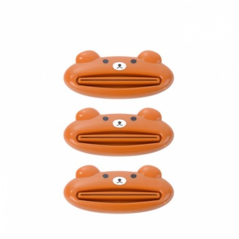 3pcs Cute Animal Cartoon Design Manual Toothpaste Facial Cleanser Squeezer Brown Bear