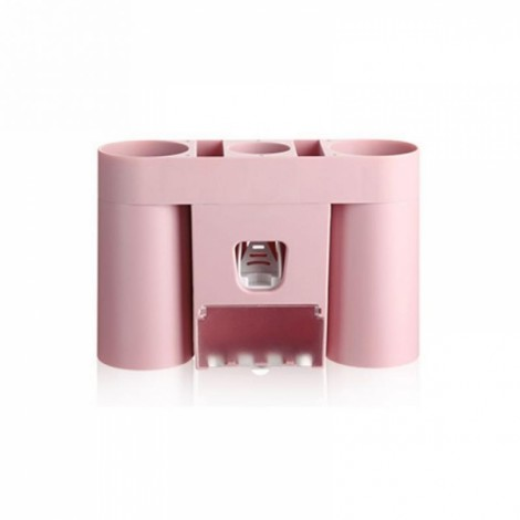 Automatic Toothpaste Dispenser Squeezer Toothbrush Holder Bathroom Storage Rack Pink