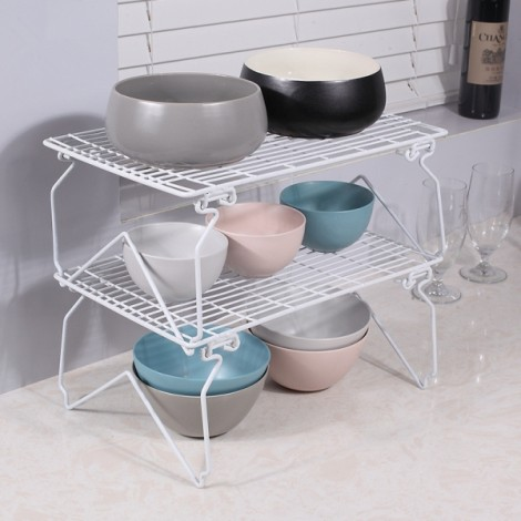 Foldable Kitchen Bathroom Rectangle Storage Shelf Stackable Sundries Storage Rack White